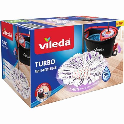 Vileda Turbo 3in1 Microfibre Zestaw Obrotowy Mop + Wiadro 167751..